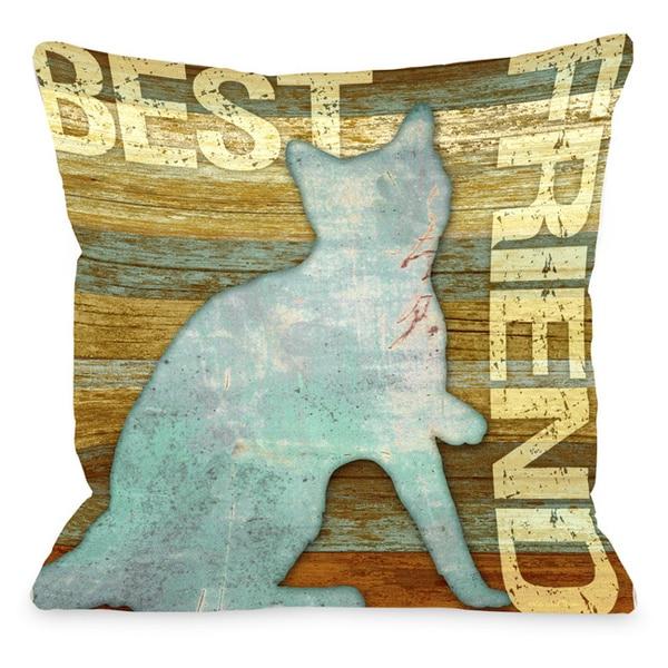 Best Friend Cat Wood Throw Pillow