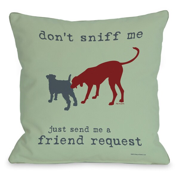 Dog Friend Request Mint Throw Pillow