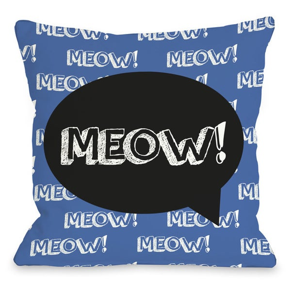 Meow Talk Bubble Throw Pillow