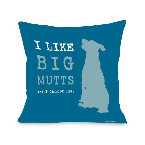 I Like Big Mutts Blue Throw Pillow