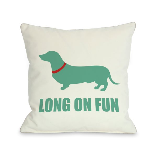 Dachshund Long on Fun Throw Pillow