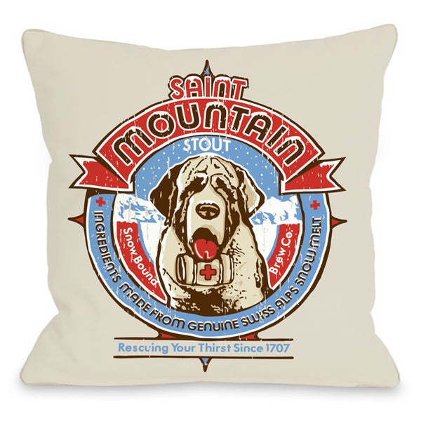 Saint Bernard Mountain Dog Throw Pillow