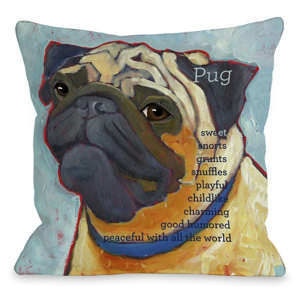 Pug Dog Throw Pillow