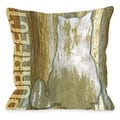 Purrfect Wood Cat Theme Throw Pillow
