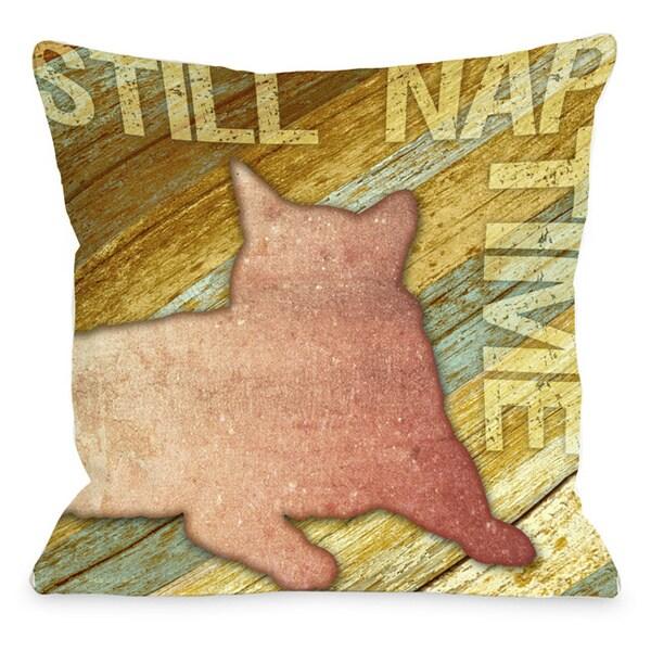 Still Nap Time Wood Throw Pillow