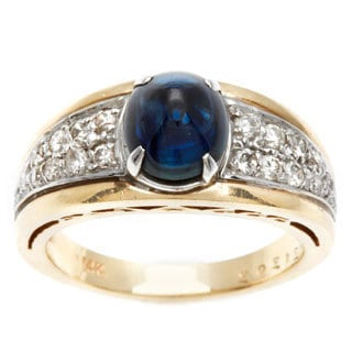 14k Yellow Gold 2/5ct TDW Diamond and Sapphire Estate Ring (J-K, SI1-SI2)