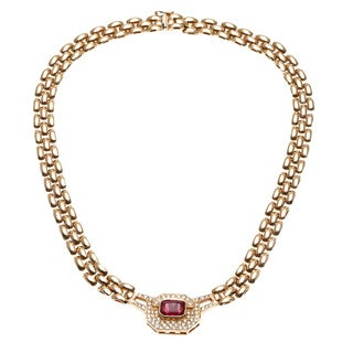 14k Yellow Gold 1ct TDW Diamond and Ruby Estate Necklace (G-H, SI1-SI2)