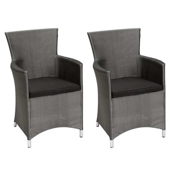 Outdoor Textilene Dining Chair with Cushion Set of 2