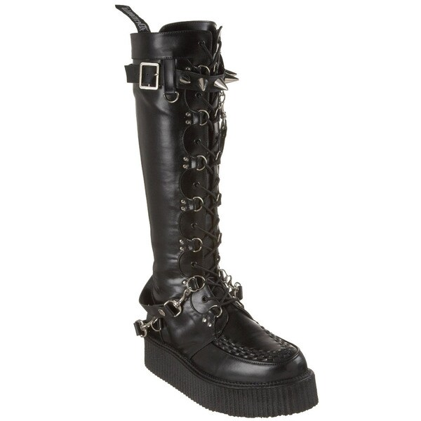 Demonia Men's 'V-Creeper-588' Knee-high D-Ring Creeper Boots