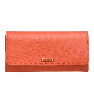 Fendi 'Elite' Orange Vitello Leather Continental Wallet
