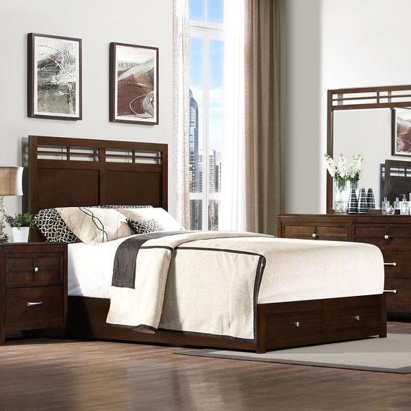 King Sized  Drawer Platform Storage Bed In Espresso