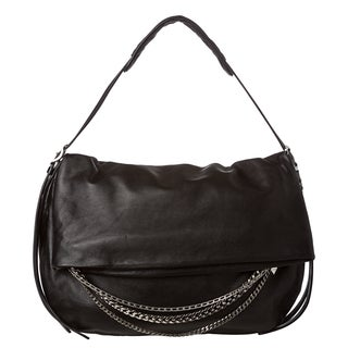 Jimmy Choo 'Biker' Large Black Leather Shoulder Bag