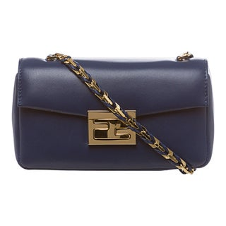 Fendi 'Be' Iris Blue Leather Mini Baguette Bag