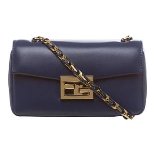 Fendi 'Be' Iris Blue Leather Mini Baguette Bag