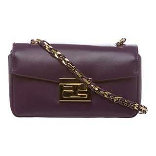 Fendi 'Be' Purple Leather Mini Baguette Bag