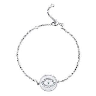 Sterling Silver Diamond Accent Evil Eye Disk Bracelet