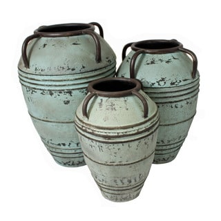 Casa Cortes Artisan Large Rustic Decorative Metal Planter Vase (Set of 3)