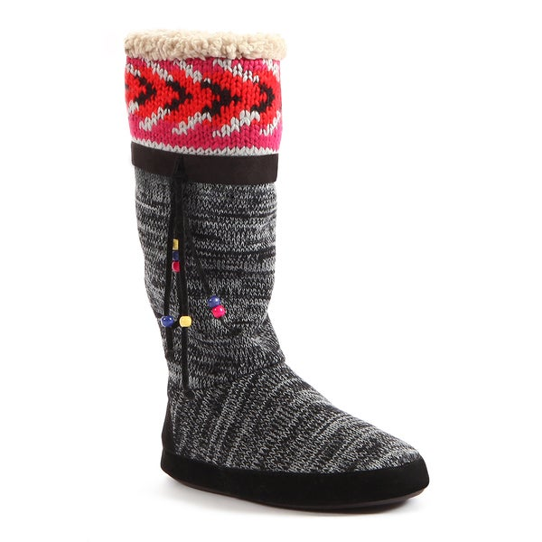 Muk Luks Women's 'Marisa' Black Knit Beaded Boots