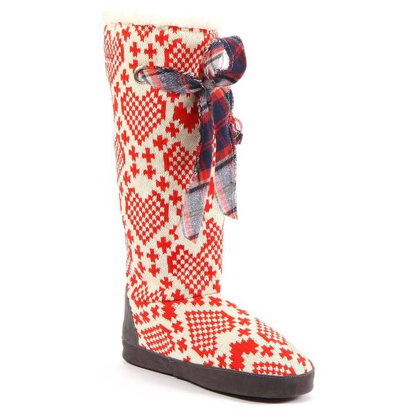Muk Luks Women's 'Grace' Red/ White Heart Print Slipper Boots