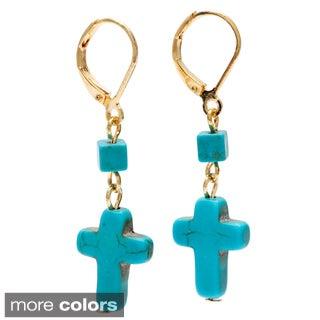 Alexa Starr Double Drop Turquoise Cross Earrings