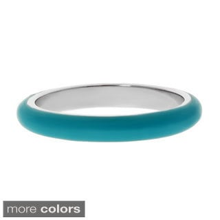 Stainless Steel Blue or Green Enamel Ring