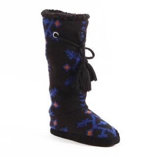 Muk Luks Women's 'Grace' Black Tribal Motif Slipper Boots