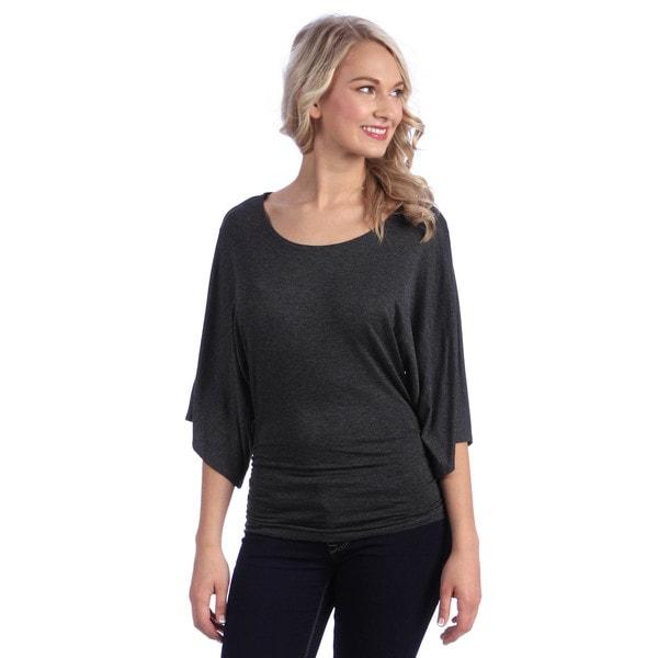 Tabeez Women's Solid Dolman Sleeve Top