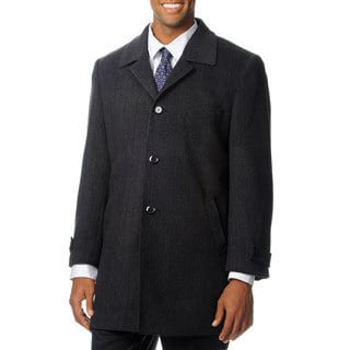 Pronto Moda Men's 'Ram' Charcoal Cashmere Blend Top Coat