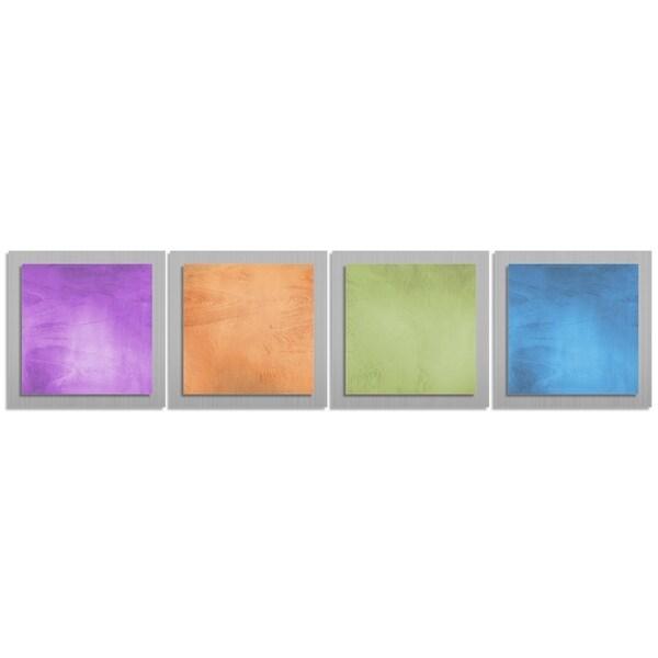 Contemporary Accent Panels 'Seasonal Essence' Rainbow Color Metal Wall Art 11864240