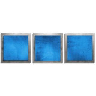 Belle 'Blue Essence' Layered Modern Metal Wall Art