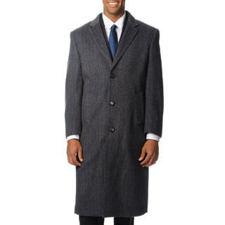 Pronto Moda Men's 'Harvard' Grey Herringbone Cashmere Blend Long Top Coat