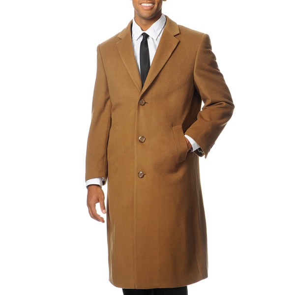 Pronto Moda Men's 'Harvard' Camel Cashmere Blend Long Top Coat
