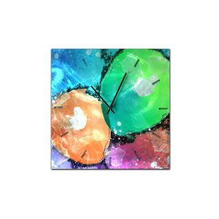 Rainbow-Colored Abstract 'Quantum Clock' Neon Paint-Splatter Metal Wall Clock