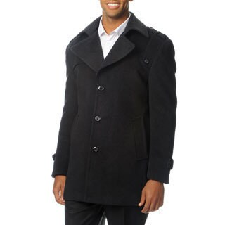 Cianni Cellini Men's 'Ralph' Charcoal Wool Blend 3/4-length Top Coat