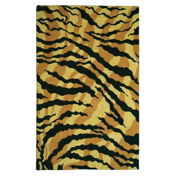 Safari Gold/ Black Wool Area Rug (5' x 8')