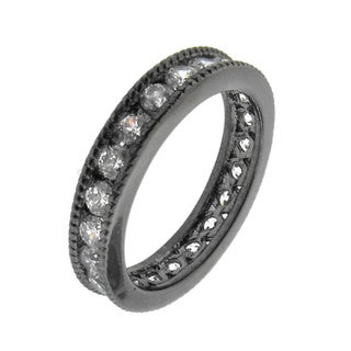 Black Rhodium-plated Sterling Silver Clear Cubic Zirconia Eternity Ring