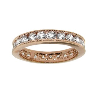 Moise 14k Rose Gold over Silver Cubic Zirconia Eternity Band