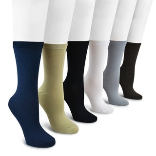 MUK LUKS Women's 6 Pair Pack Rayon from Bamboo Crew Socks