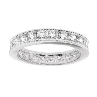 Moise Silver White Cubic Zirconia Eternity Band