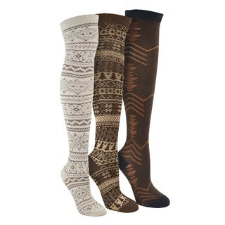 MUK LUKS 'Brown Pack' Over the Knee 3 Pair Pack