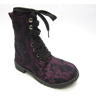Blue Children's 'K-Millie-Lace' Canvas Combat Boots