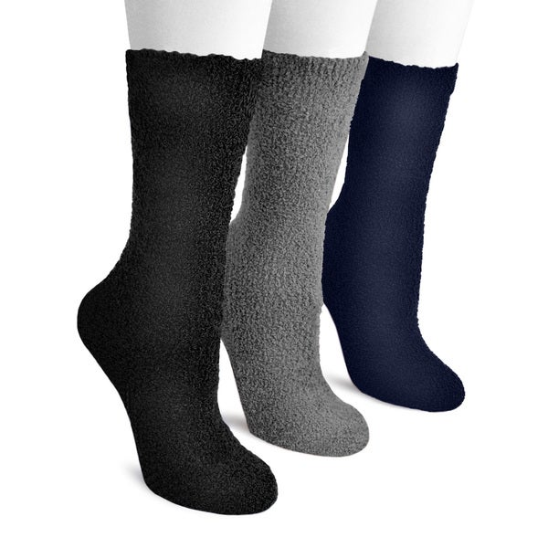 MUK LUKS Women's Three-Pair Pack Crew Dot-Sole Aloe Socks