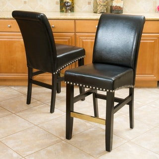 Christopher Knight Home Louigi Black Leather Counter Stool (Set of 2)
