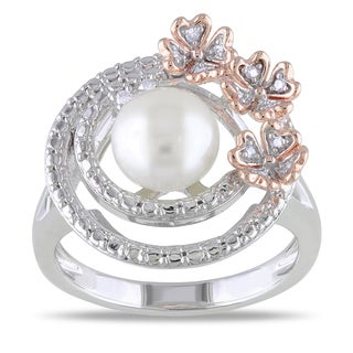 Miadora Two-tone Silver Pearl and Diamond Flower Ring (H-I, I2-I3) (7.5-8 mm)