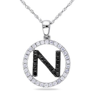 Miadora 14k White Gold 1/2ct TDW Black and White Diamond 'N' Necklace (G-H, SI1-SI2)