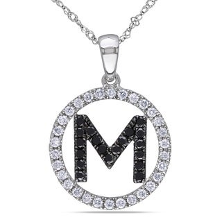 Miadora 14k White Gold 1/2ct TDW Black and White Diamond 'M' Necklace (G-H, SI1-SI2)
