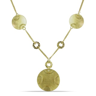 Miadora 14k Yellow Gold Hammered Disc Necklace