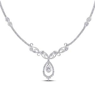 Miadora 14k White Gold 1 3/5ct TDW Diamond Necklace (G-H, SI1-SI2)