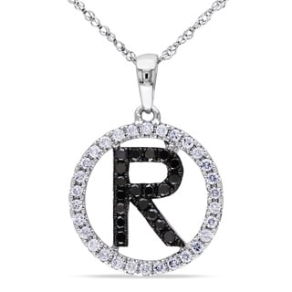 Miadora 14k White Gold 1/2ct TDW Black and White Diamond 'R' Necklace (G-H, SI1-SI2)