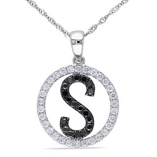 Miadora 14k White Gold 1/2ct TDW Black and White Diamond 'S' Necklace (G-H, SI1-SI2)